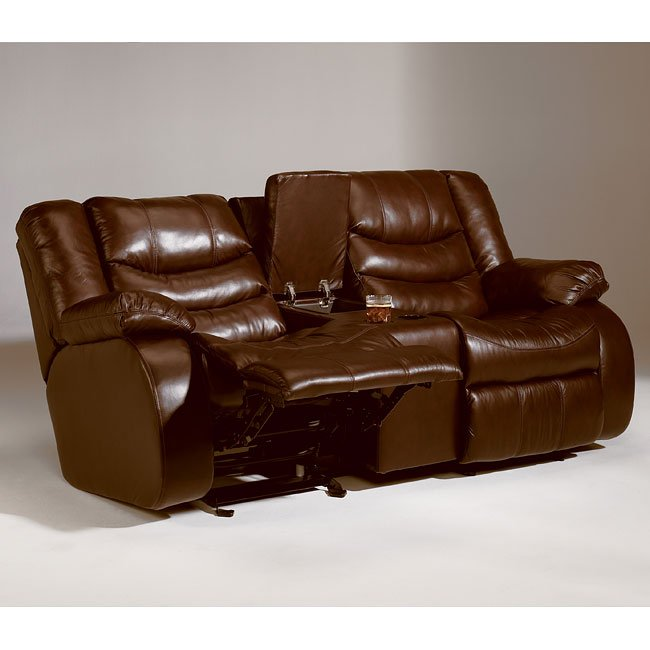 Revolution - Saddle Double Reclining Loveseat w/ Console and Power