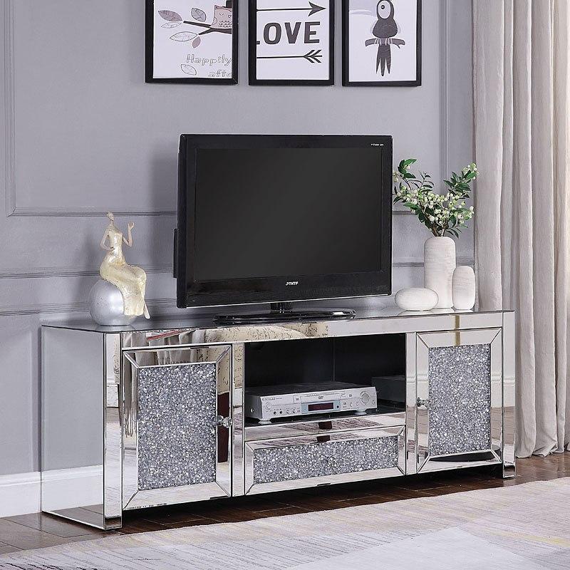 Noralie Mirrored Tv Stand Acme Furniture Furniture Cart