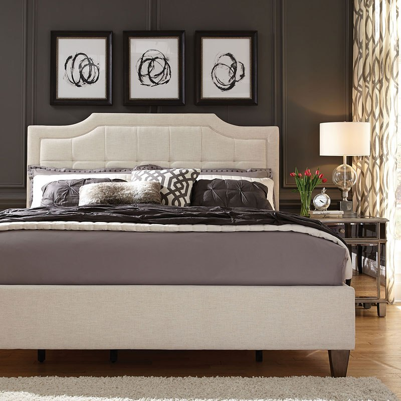 Stella Upholstered Bed (Ivory)