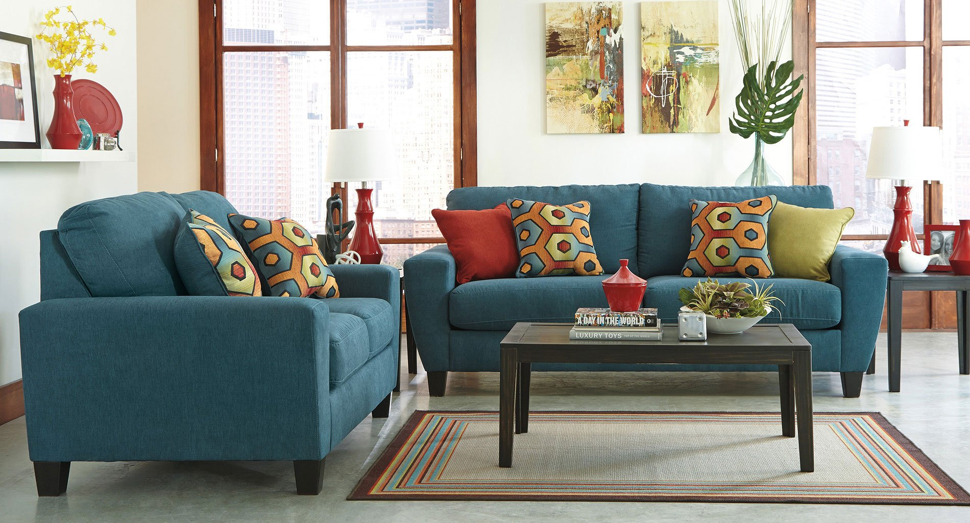 Sagen Teal Living Room Set
