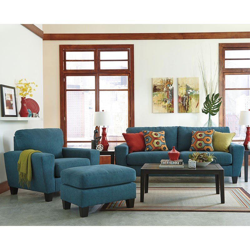 Sagen Teal Living Room Set Signature Design