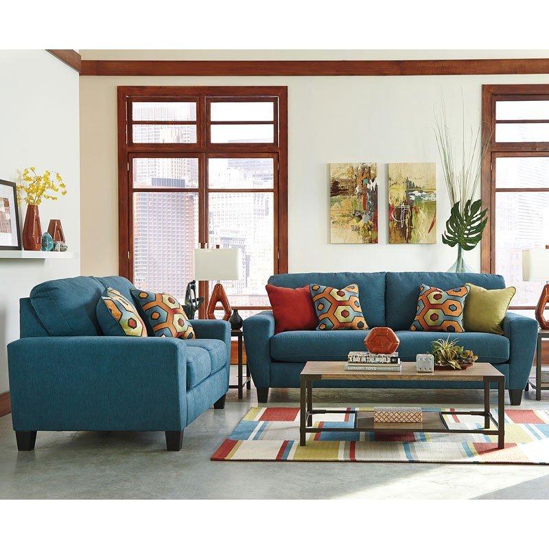 sagen teal living room set signature design furniture cart. Black Bedroom Furniture Sets. Home Design Ideas