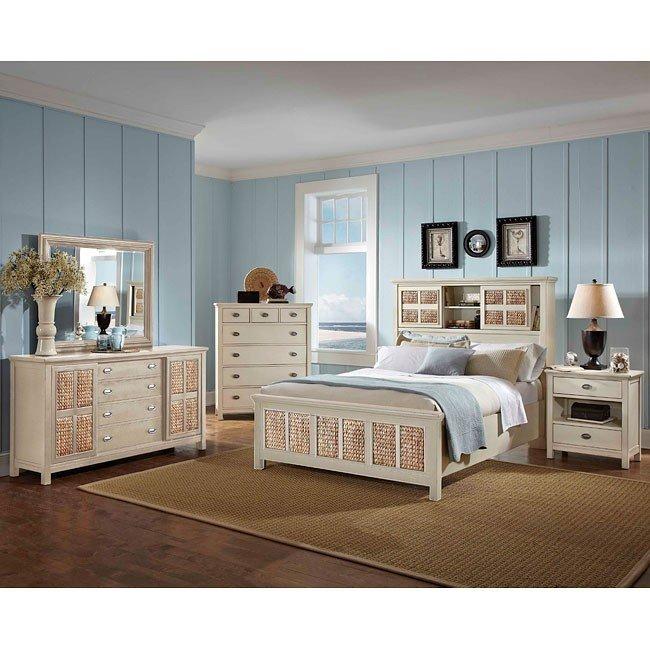 Pacifica Creme Bookcase Bedroom Set
