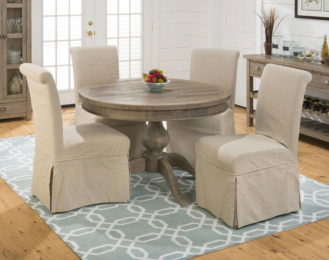 Slater Mill Round To Oval Dining Set W Slipcovered Chairs