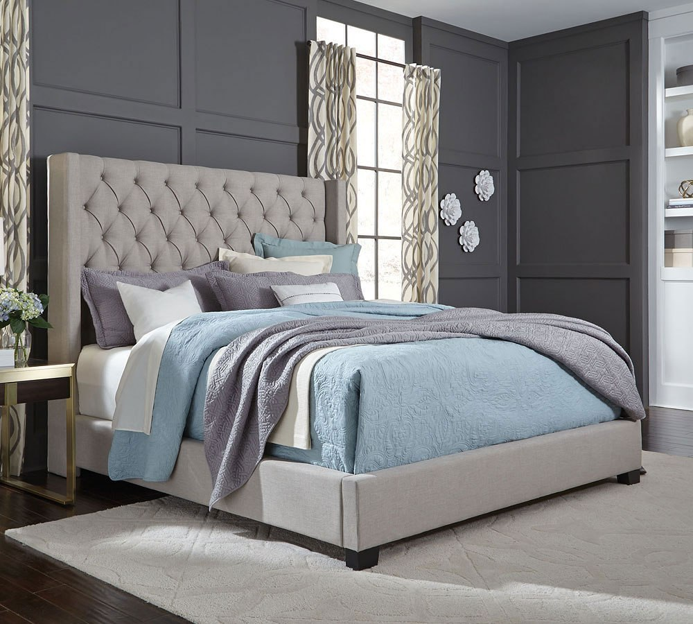 Bedroom With Gray Bed Bedroom Lighting Tips And Ideas Bedroom Color Blue Ideas Bedroom Decor Rustic: Westerly Upholstered Bed (Light Grey) Standard Furniture