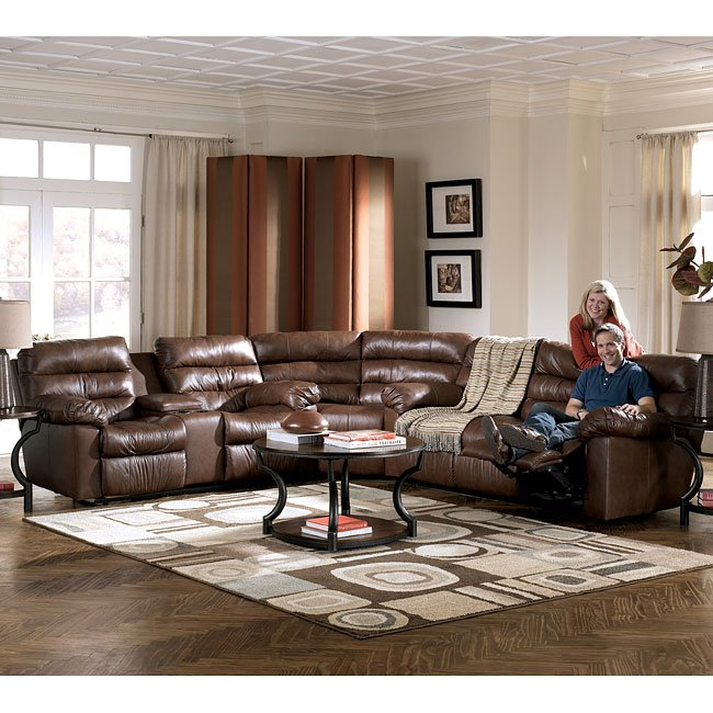 Memphis - Brown Reclining Sectional Living Room Set
