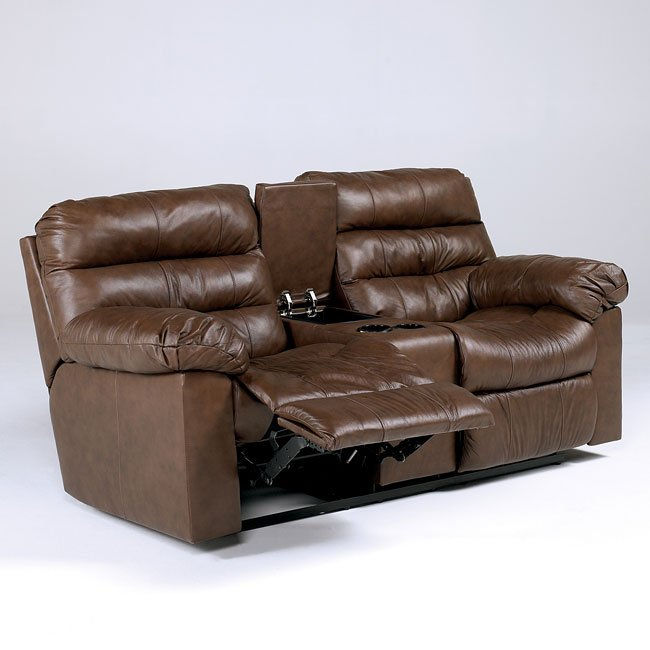 Memphis - Brown Double Reclining Loveseat w/ Console and Power