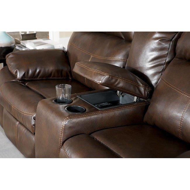 Surprising Sander Durablend Coffee Dual Glider Reclining Loveseat W Console Uwap Interior Chair Design Uwaporg