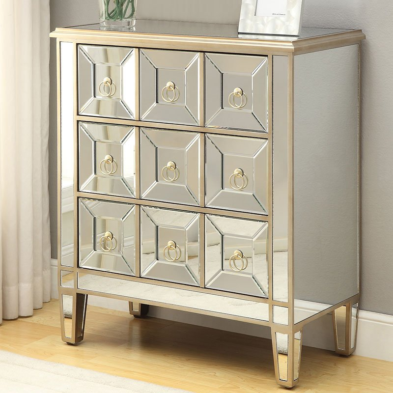 Mirrored Accent Cabinet W/ Gold Trim