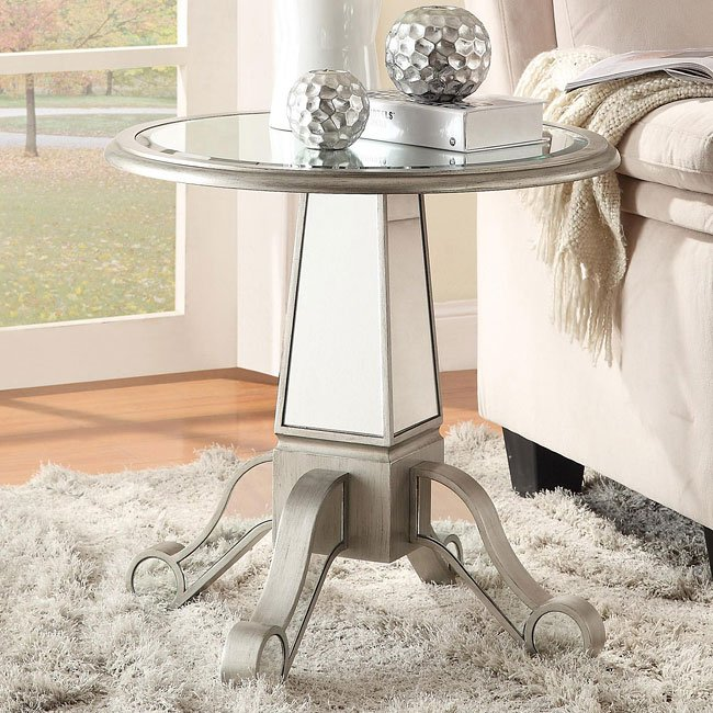 Round Mirrored Accent Table Coaster Furniture Furniture Cart