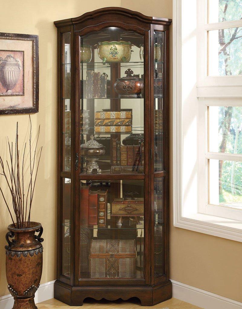 Brown Corner Curio Cabinet Coaster Furniture Furniture Cart