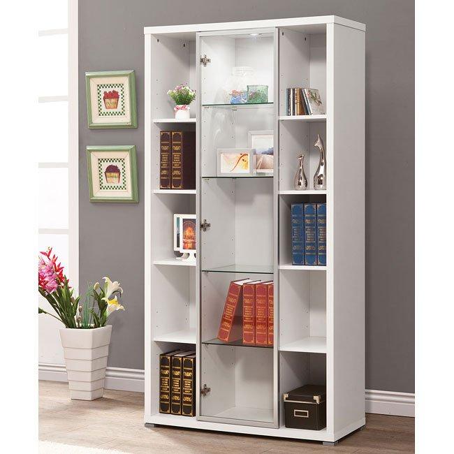 White Display Cabinet w/ Glass Door