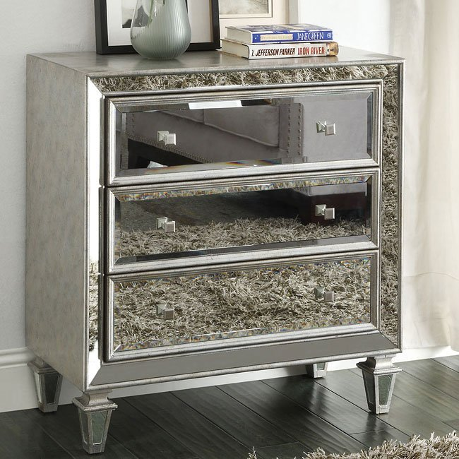 Antique Silver Mirrored Accent Cabinet