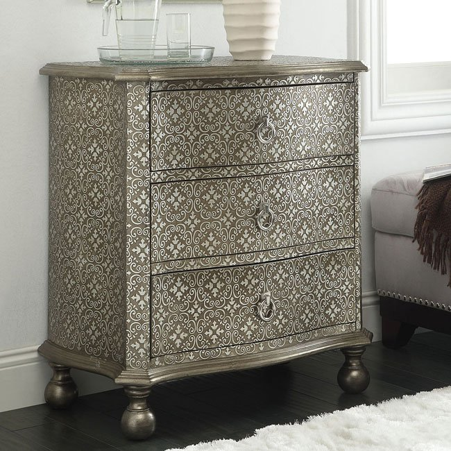 Silver Intricate Damask Pattern Accent Cabinet