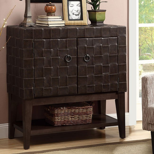 Woven Coffee Vinyl Accent Cabinet