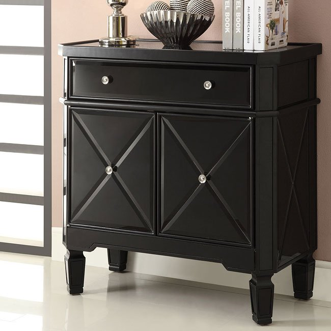 Black X-Pattern Accent Cabinet