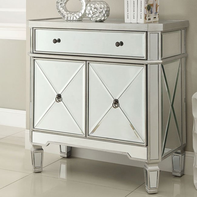 Antique Silver X-Pattern Accent Cabinet