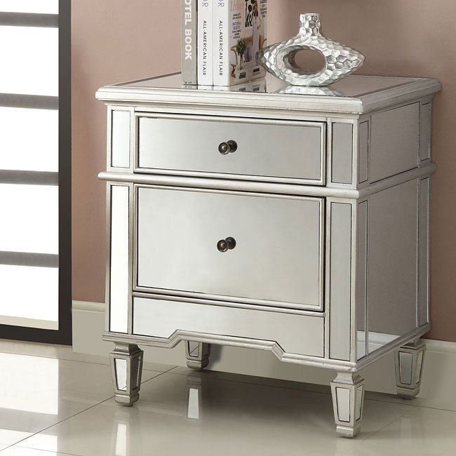Antique Silver Two-Drawer Accent Cabinet
