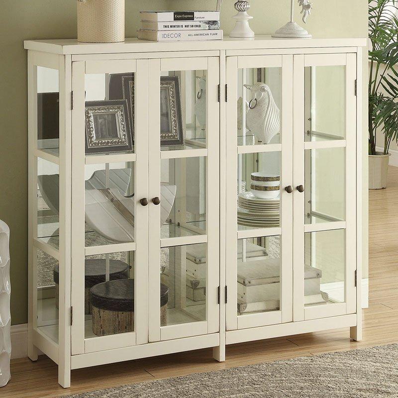 White Accent Cabinet W Glass Windows Coaster Furniture Furniture Cart