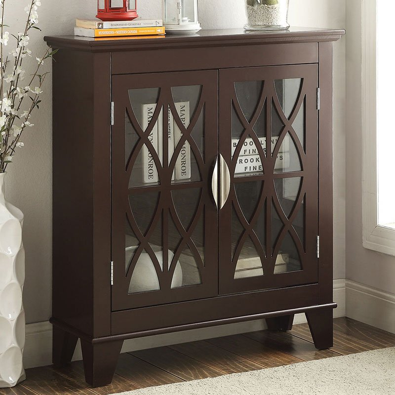 Accent Cabinet W Glass Doors Brown Coaster Furniture Furniture Cart
