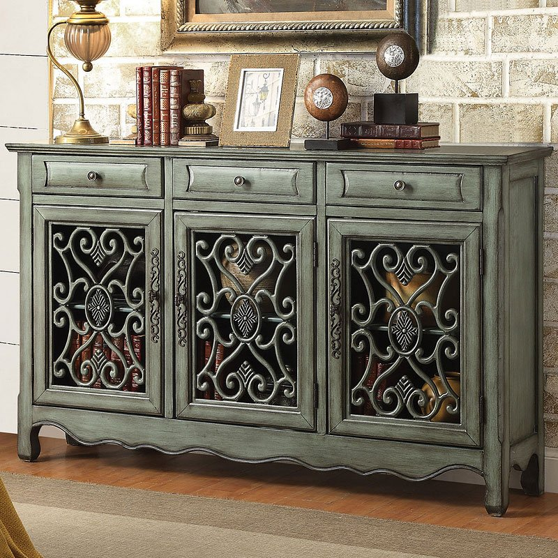 Antique Green Accent Cabinet - Antique Green Accent Cabinet Coaster Furniture Furniture Cart