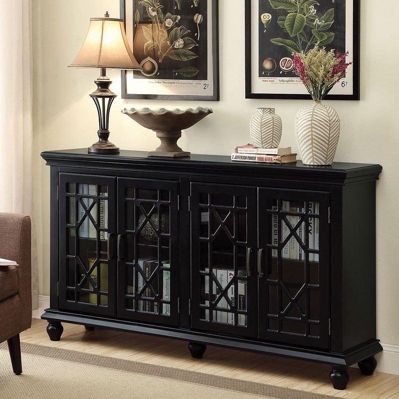 Lattice Doors Accent Cabinet Black Coaster Furniture