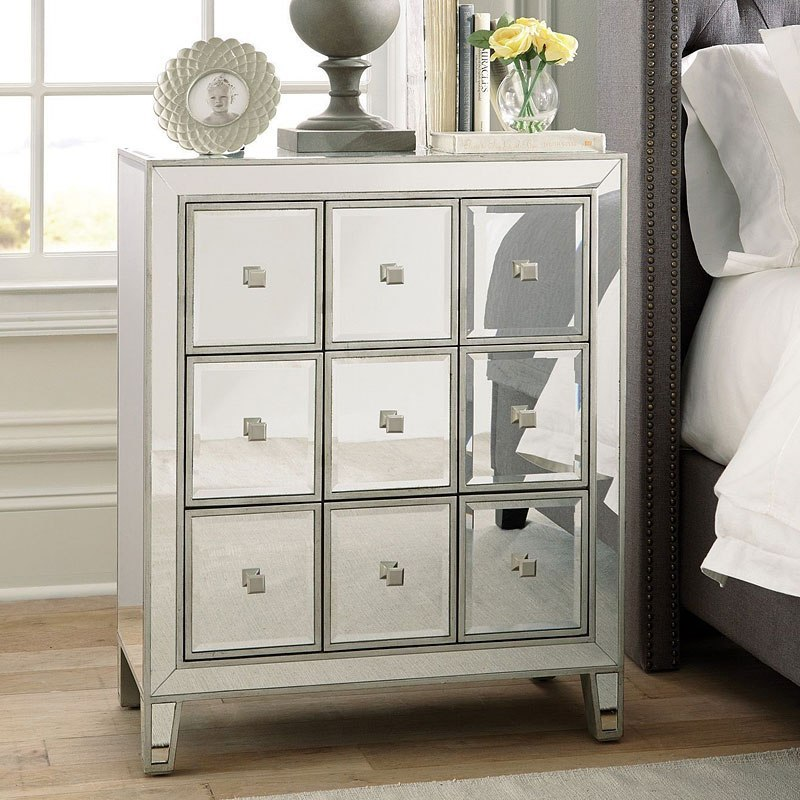 Clear Mirror Accent Cabinet w/ Nine Drawers