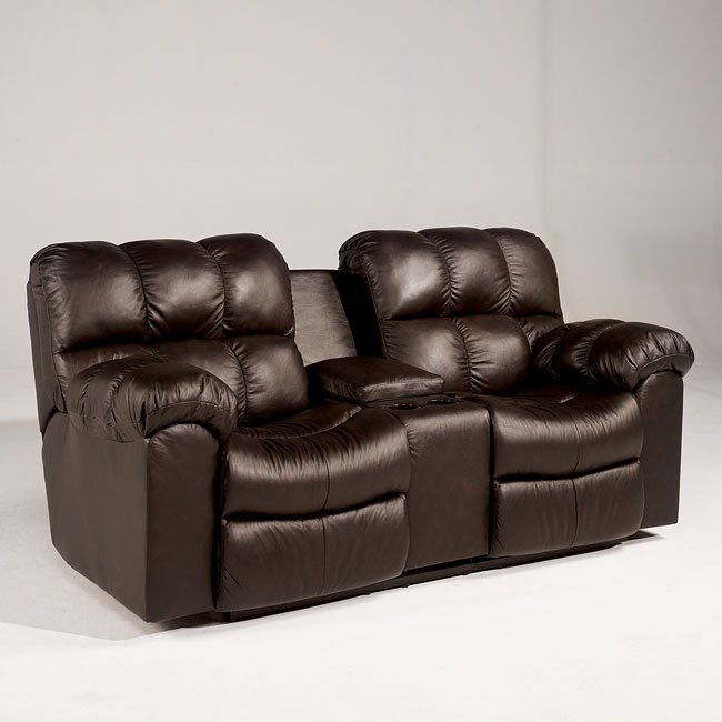 Max - Chocolate Double Reclining Loveseat w/ Console
