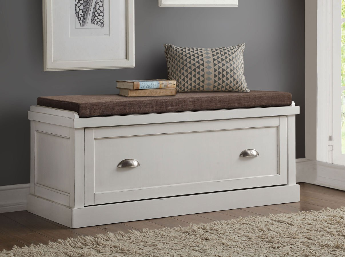 Aislins Storage Bench (White Washed) Acme Furniture