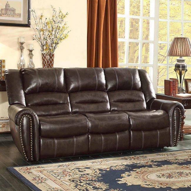 Center Hill Double Reclining Sofa (Dark Brown)
