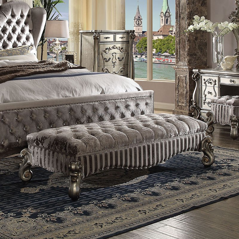 Contemporary Bedroom Set London Black By Acme Furniture: Versailles II Upholstered Bedroom Set (Antique Platinum