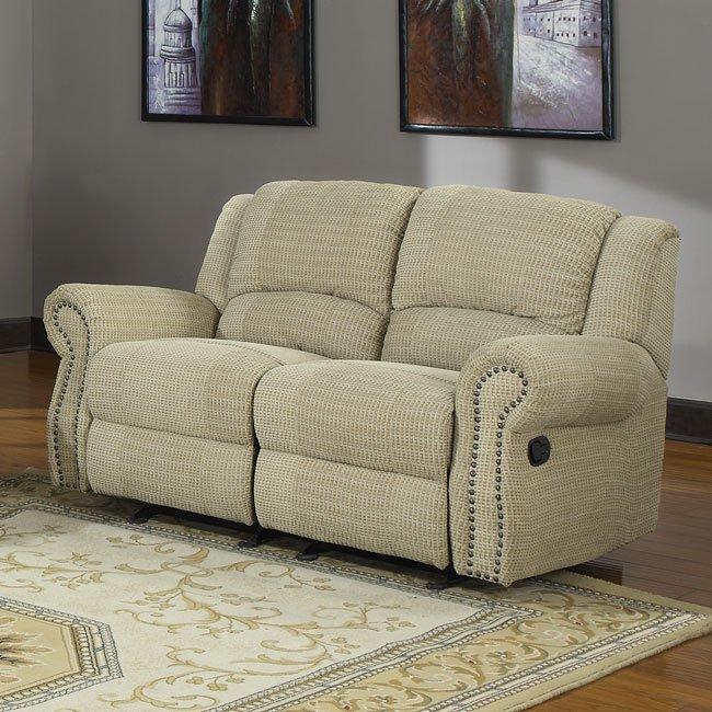 Ashley Furniture In Woodbridge Nj: Quinn Reclining Loveseat (Beige Chenille) Homelegance