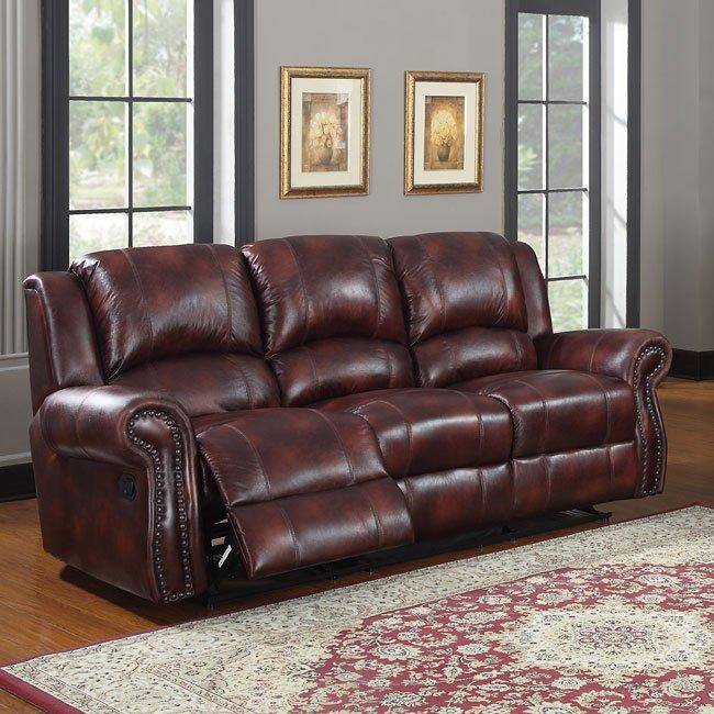 Quinn Reclining Sofa (Burgundy Microfiber)