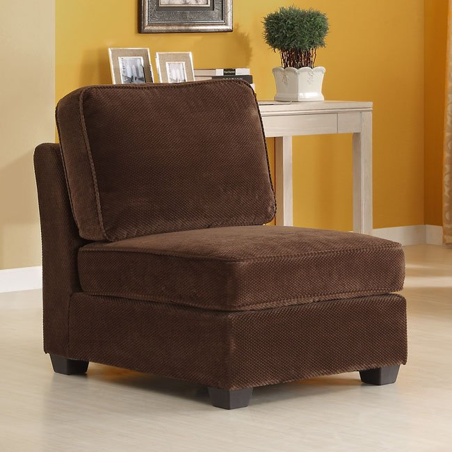 burke armless chair brown homelegance furniture cart rh furniturecart com Armless Leather Chairs Rustic Armless Chairs