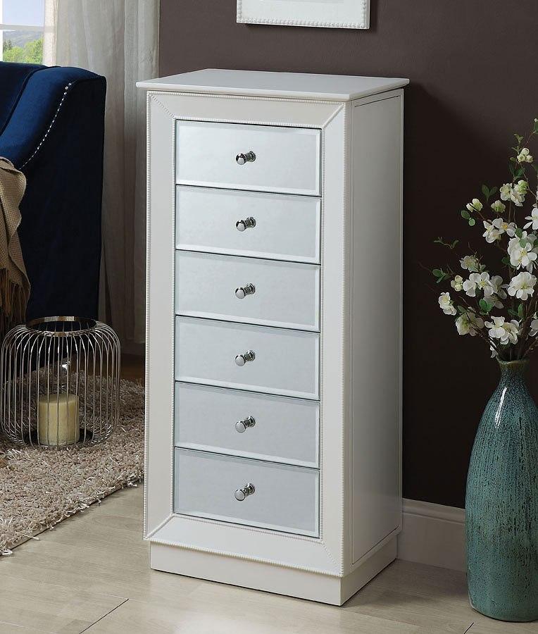 Talor Jewelry Armoire (White) Acme Furniture   Furniture Cart