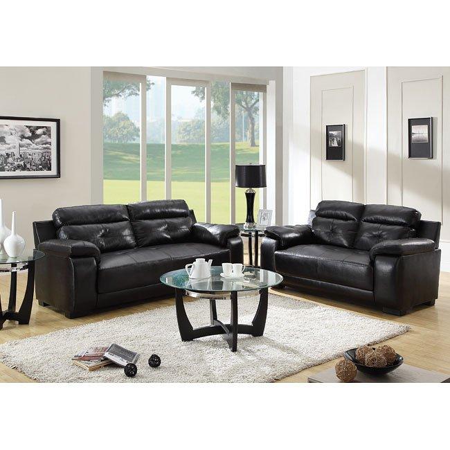 Zane Living Room Set (Black)