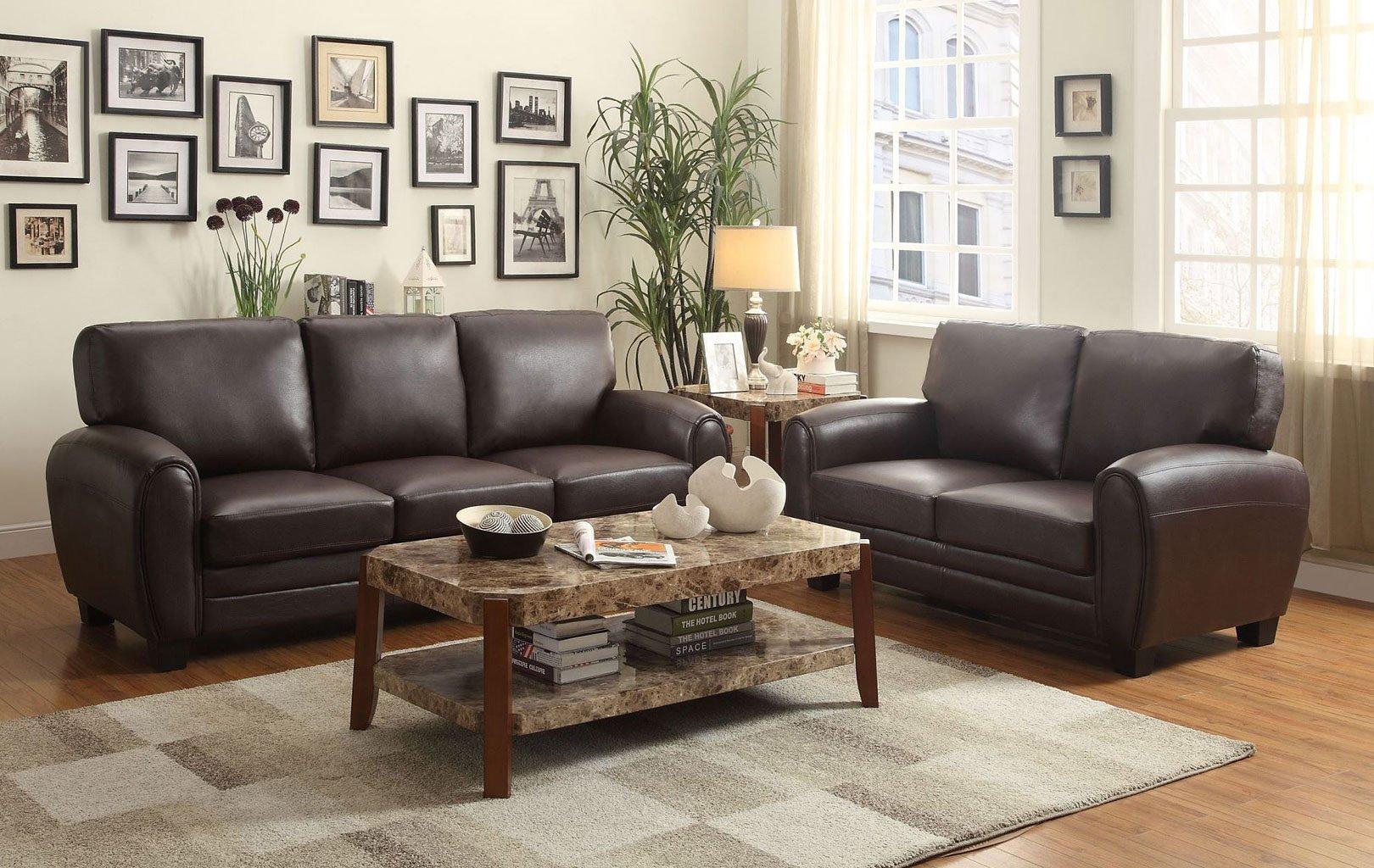 Beau Rubin Living Room Set (Dark Brown)