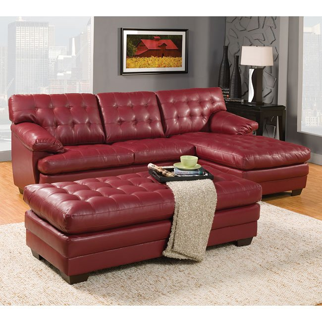 Brooks Sectional Living Room Set (Red)