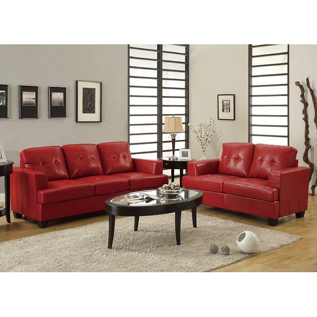 Keaton Living Room Set (Red)