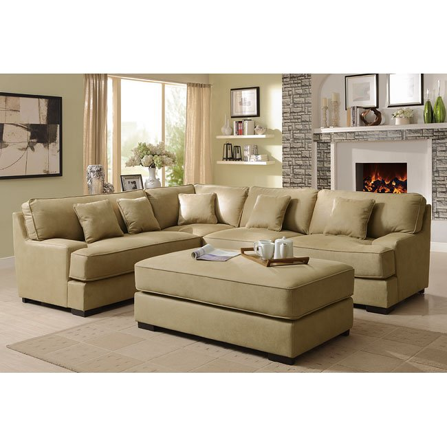 Minnis Sectional Living Room Set (Beige)