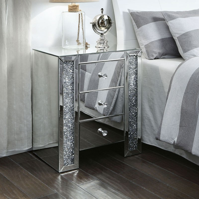 Noralie Mirrored Nightstand End Table Acme Furniture