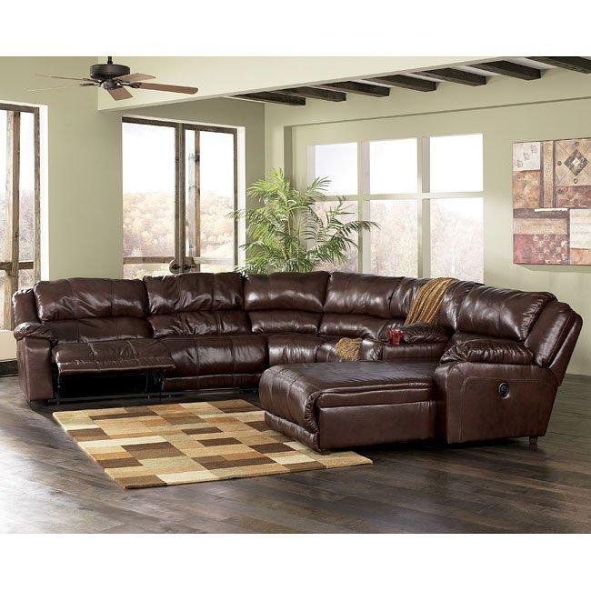 Braxton java 6 piece sectional living room set - Ashley millennium living room furniture ...