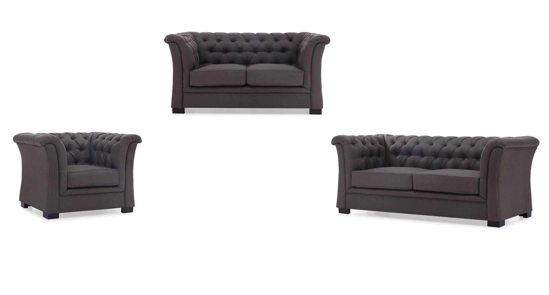 Nob Hill Living Room Set (Charcoal Gray)