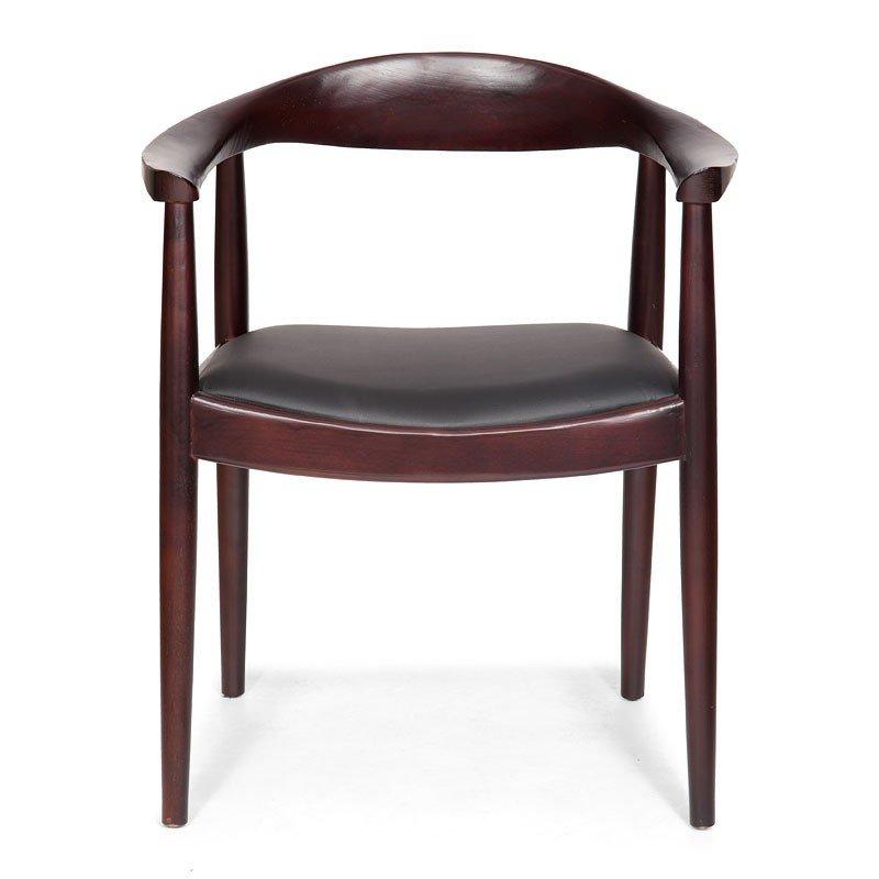 Greenwich Chair Dark Walnut And Black Cushion Set Of 2