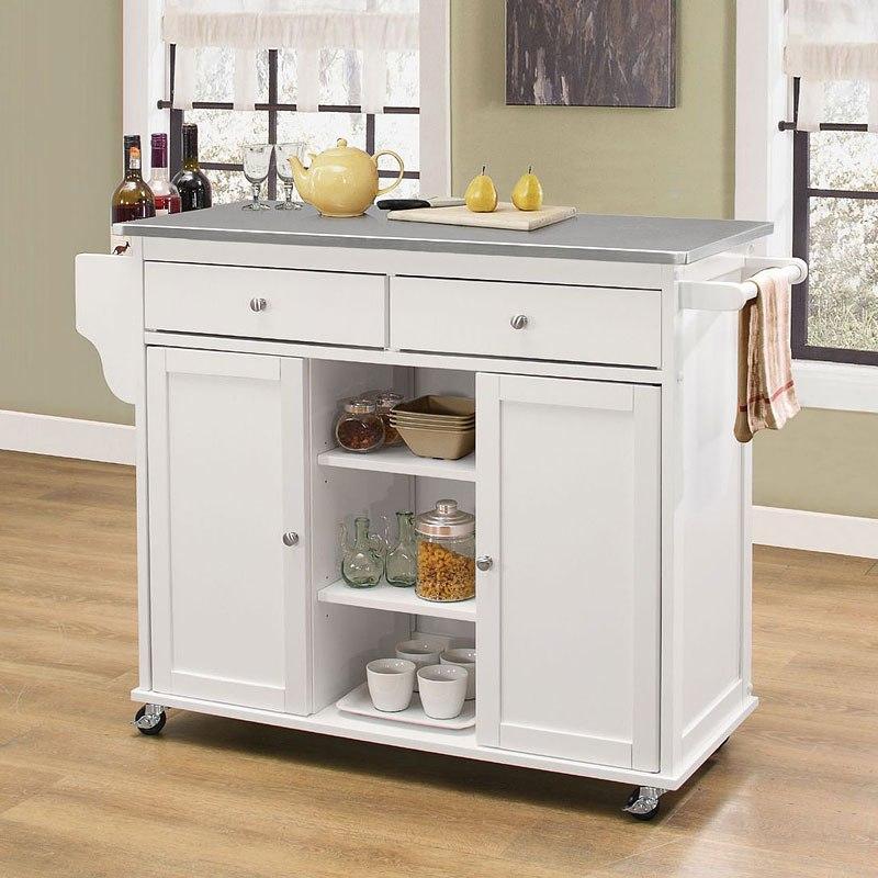 Tullarick Kitchen Cart (Stainless Steel/White)
