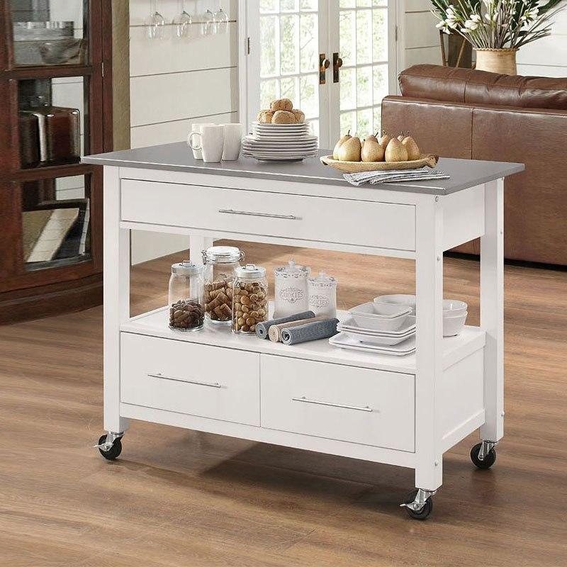 Ottawa Kitchen Cart (Stainless Steel/White)