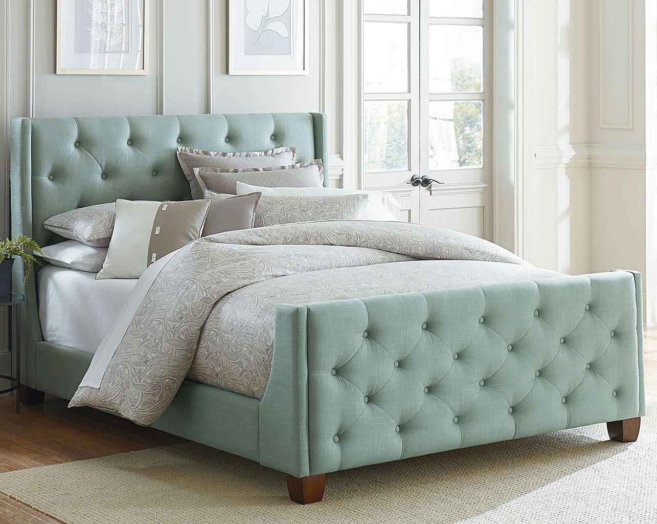 Carmen Upholstered Bed (Blue) Standard Furniture | Furniture Cart
