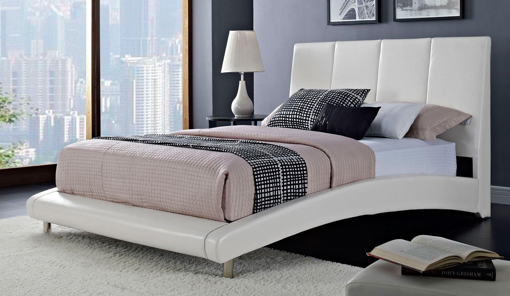 moderno upholstered bed white standard furniture