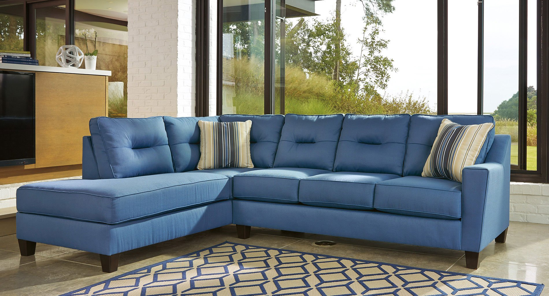 benchcraft sectional reviews kirwin nuvella blue left chaise sectional benchcraft 1 1583