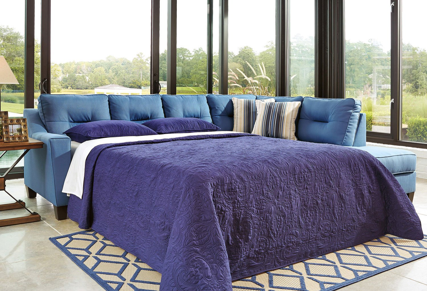 Kirwin Nuvella Blue Right Chaise Sectional w/ Sleeper